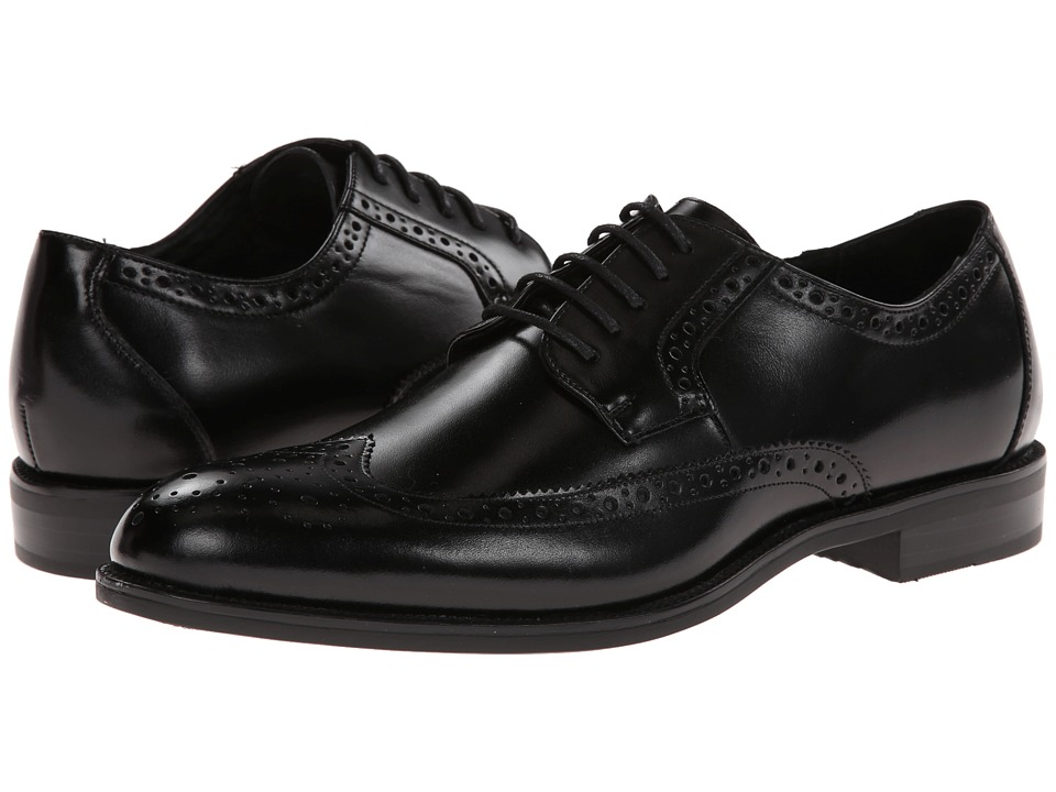 1930s Men's Clothing Stacy Adams Garrison Black Leather Mens Lace Up Wing Tip Shoes $90.00 AT vintagedancer.com