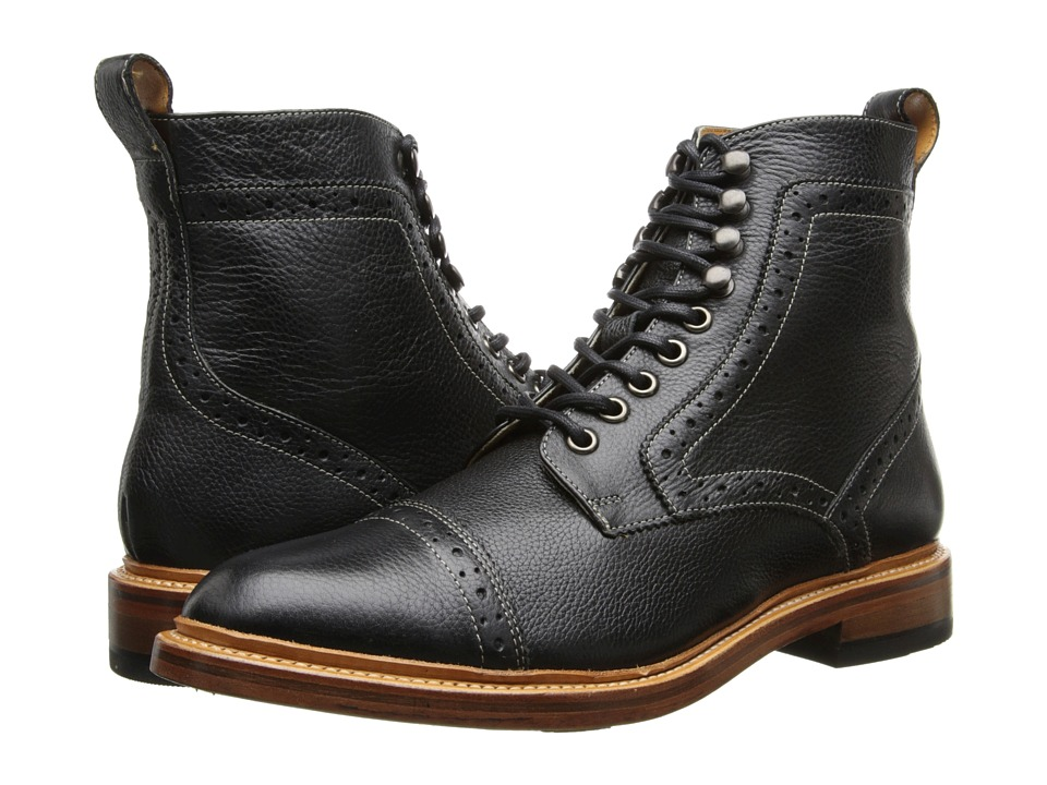 Men's Steampunk Costume Essentials Stacy Adams - Madison II Black Milled Leather Mens Lace Up Cap Toe Shoes $180.00 AT vintagedancer.com