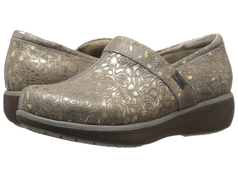 SoftWalk Meredith (Grey/Gold Metallic Rose Embossed Leather) Women