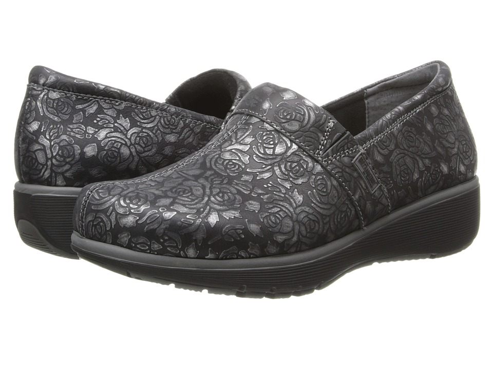 SoftWalk Meredith Black/Pewter Metallic Rose Embossed Leather Womens Slip on Shoes