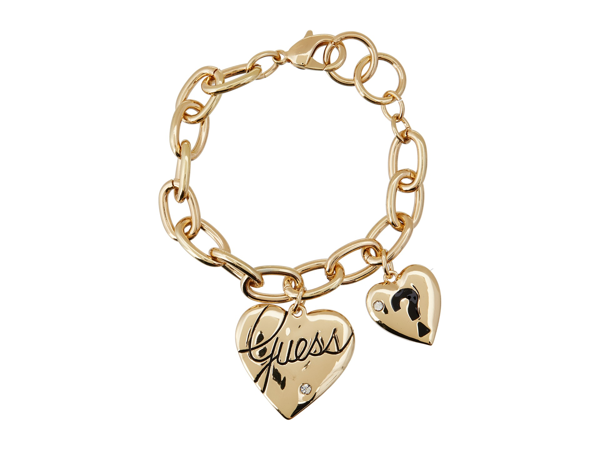 GUESS Two Heart Charm Bracelet at Zappos
