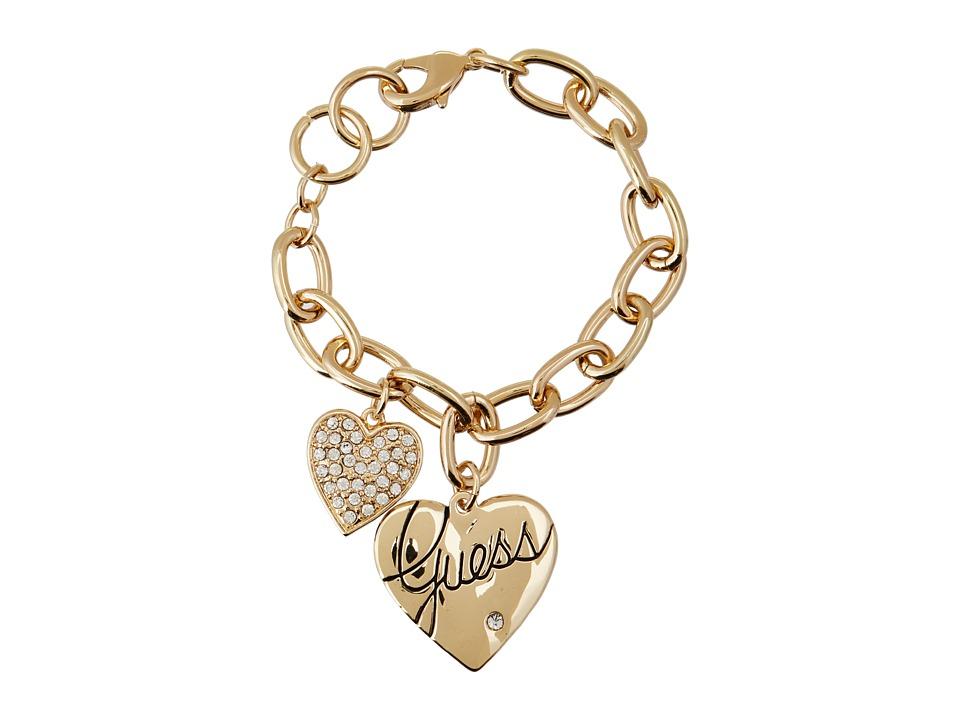 GUESS - Two Heart Charm Bracelet (Gold/Crystal) Bracelet