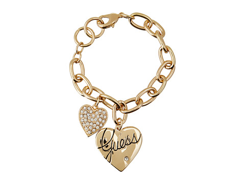 GUESS Two Heart Charm Bracelet - Gold/Crystal