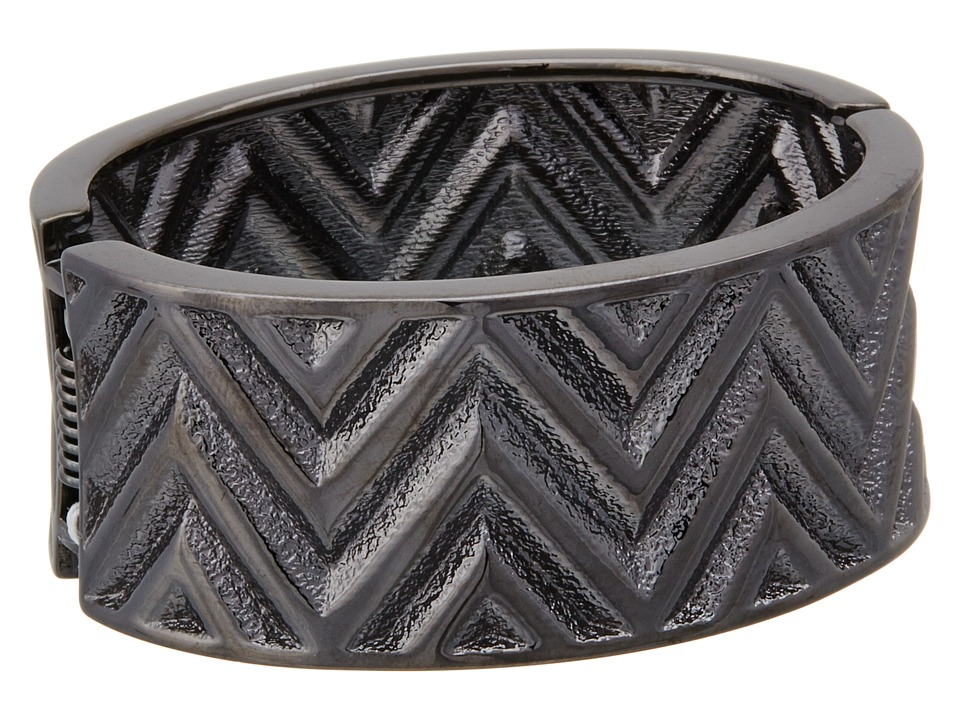 Guess Chevron Stripe Wide Stretch Bracelet (Hematite) Bra...