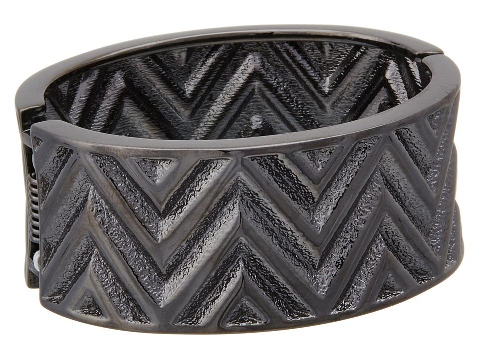 GUESS - Chevron Stripe Wide Stretch Bracelet (Hematite) Bracelet