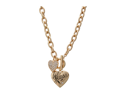 GUESS Double Heart Charm Toggle Necklace 16 inch