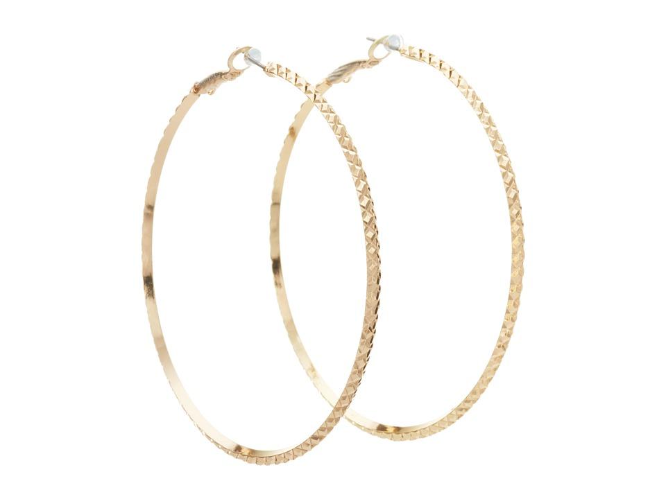 GUESS - Diamond Cut Hoop Earring (Gold) Earring