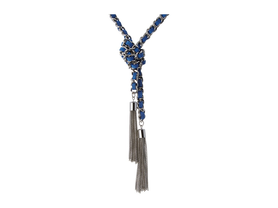 GUESS - Woven Chain Know Lariat 32 Necklace inch (Silver/Blue) Necklace