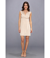 Vince Camuto - V Neck Pleated Dress w/ Rhinestones On Shoulders