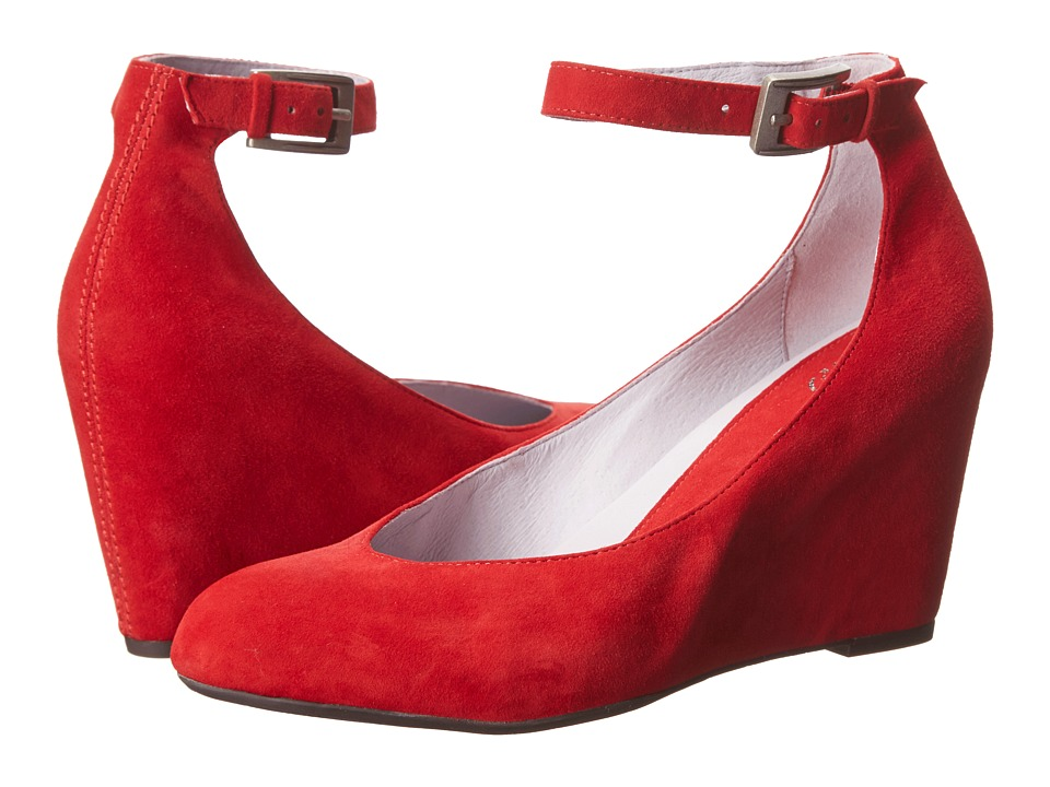 Johnston & Murphy Tracey Ankle Strap (Cardinal Red Suede) Women's Shoes