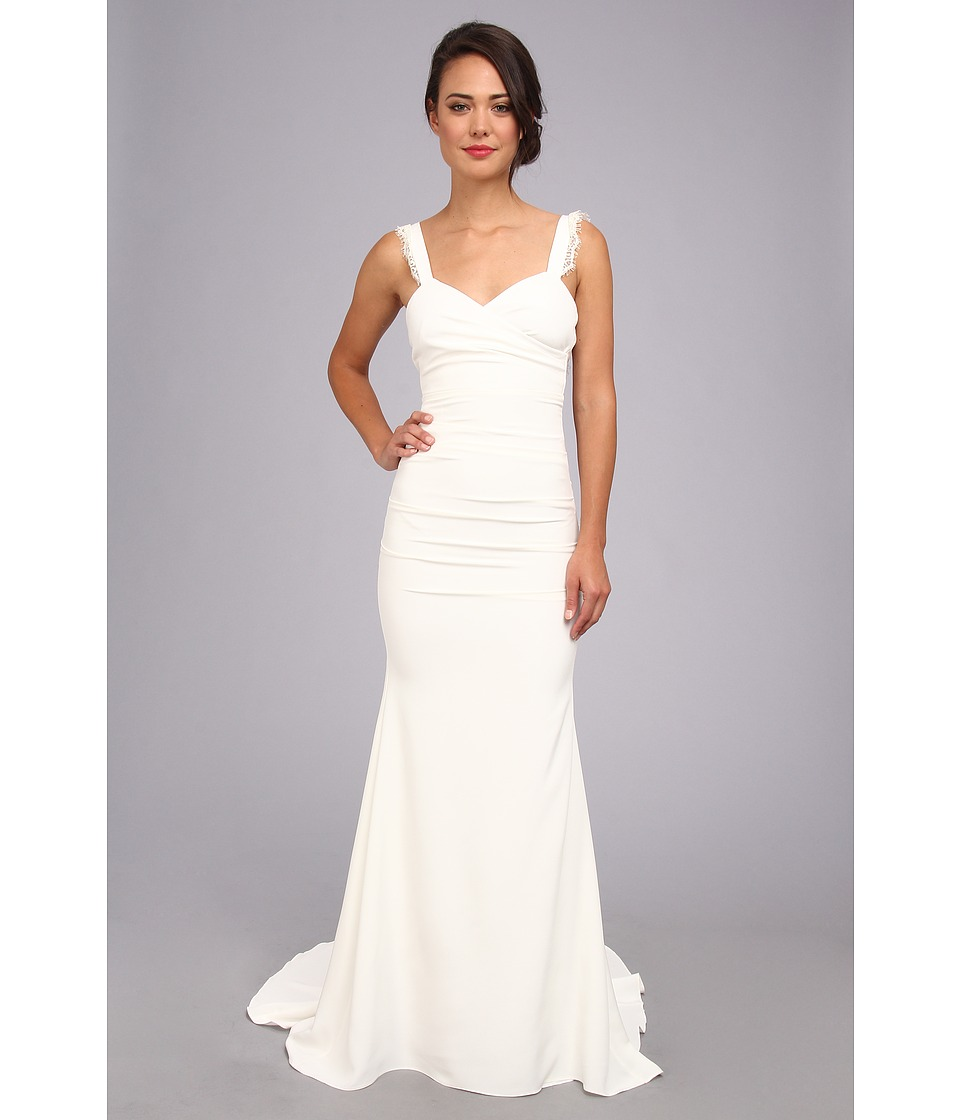 Nicole Miller Alexis Low Back Bridal Gown Antique White Womens Dress