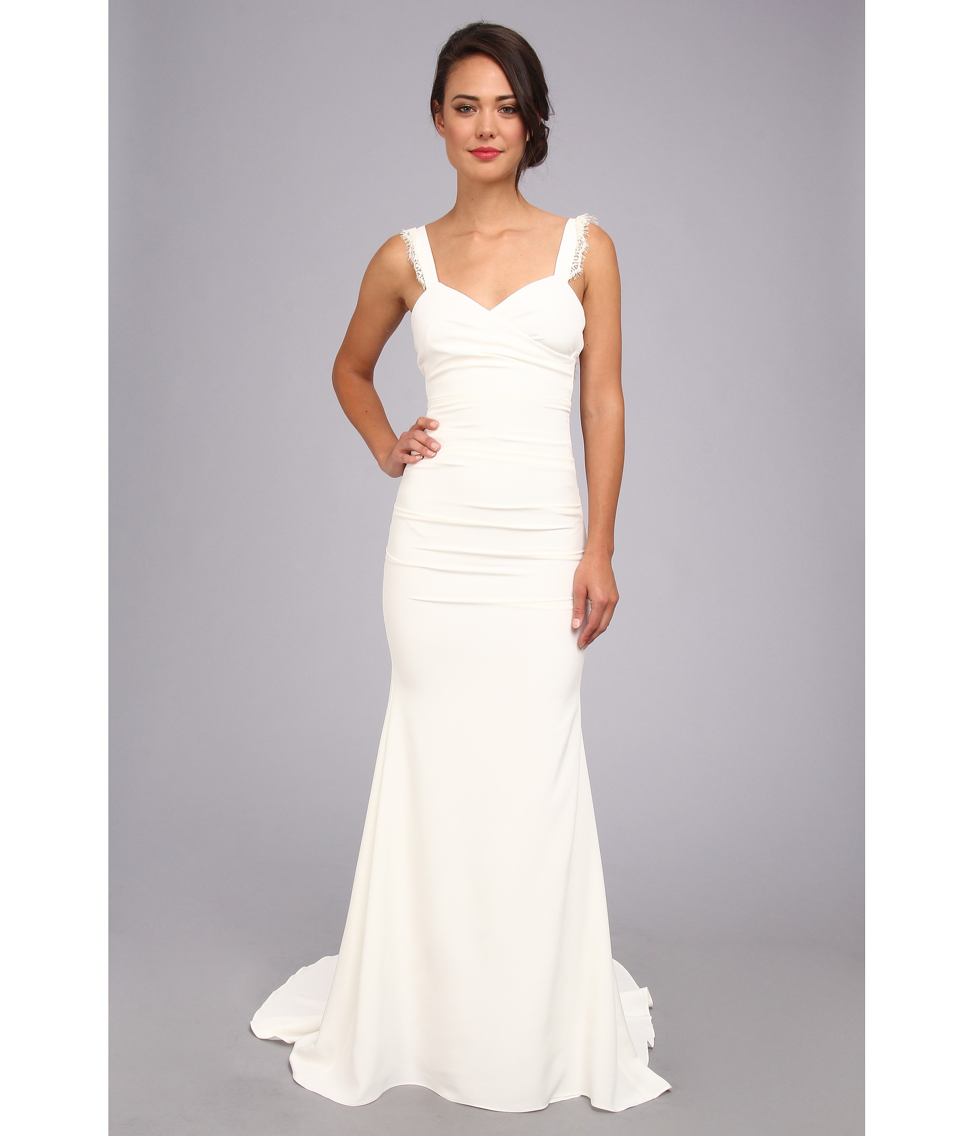 Nicole Miller Tonya Stretch V Neck Gown Antique White Clothing ...