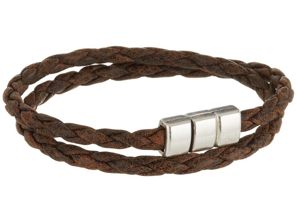 Torino Leather Co. - Braided Leather Double Wrap Bracelet (Vintage Tan) Bracelet plus size,  plus size fashion plus size appare