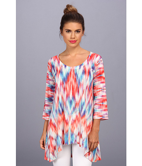 Special Offers Nally Millie Red Ikat Burnout 3 4 Sleeve Tunic Multi