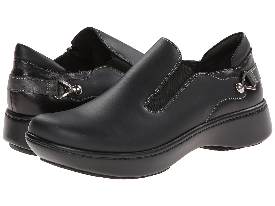 Naot - Nautilus (Jet Black Leather/Black Madras Leather/Tin Gray Leather) Womens Slip on  Shoes