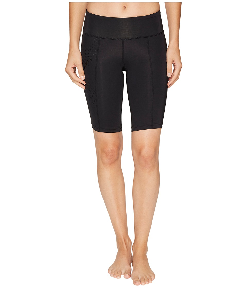 2XU - Mid-Rise Compression Short (Black/Dotted Black Logo) Womens Shorts