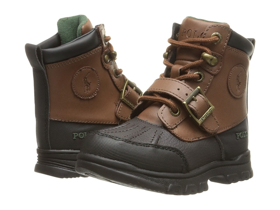 Polo Ralph Lauren Kids - Colbey Boot FT14 (Toddler) (Chocolate Tumbled/Tan Burnished Leather) Boys Shoes
