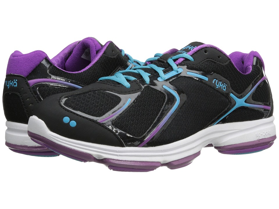 Ryka Devotion Black/Bright Violet/Detox Blue 1 Womens Shoes