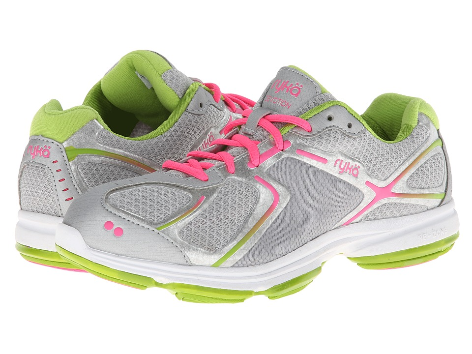 Ryka Devotion Chrome Silver/Lime Blaze/Atomic Pink 1 Womens Shoes