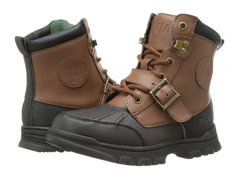 Polo Ralph Lauren Kids Colbey Boot FT14 (Little Kid) - Chocolate Tumbled/Tan Burnished Leather