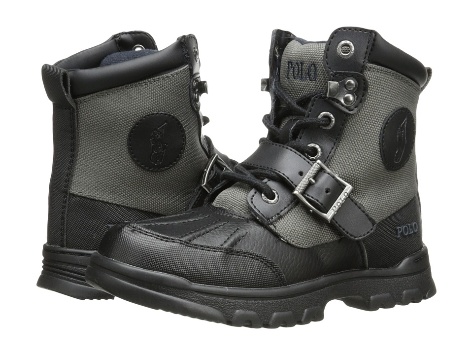 Polo Ralph Lauren Kids Colbey Boot FT14 Little Kid Black/Slate Grey Nylon Boys Shoes