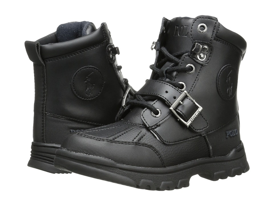 Polo Ralph Lauren Kids Colbey Boot FT14 Little Kid Black Tumbled/Burnished Leather Boys Shoes