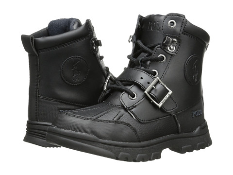 Polo Ralph Lauren Kids Colbey Boot FT14 (Little Kid) - Black Tumbled/Burnished Leather