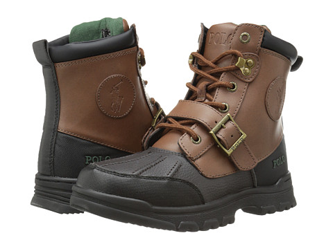 Polo Ralph Lauren Kids Colbey Boot FT14 (Big Kid) - Chocolate Tumbled/Tan Burnished Leather