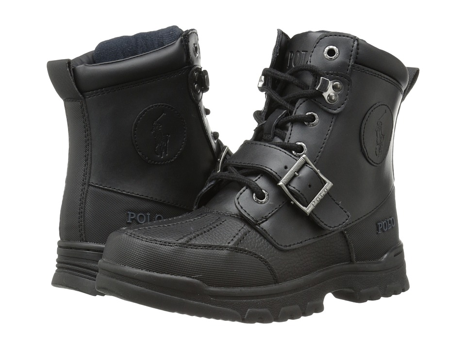 Polo Ralph Lauren Kids Colbey Boot FT14 Big Kid Black Tumbled/Burnished Leather Boys Shoes