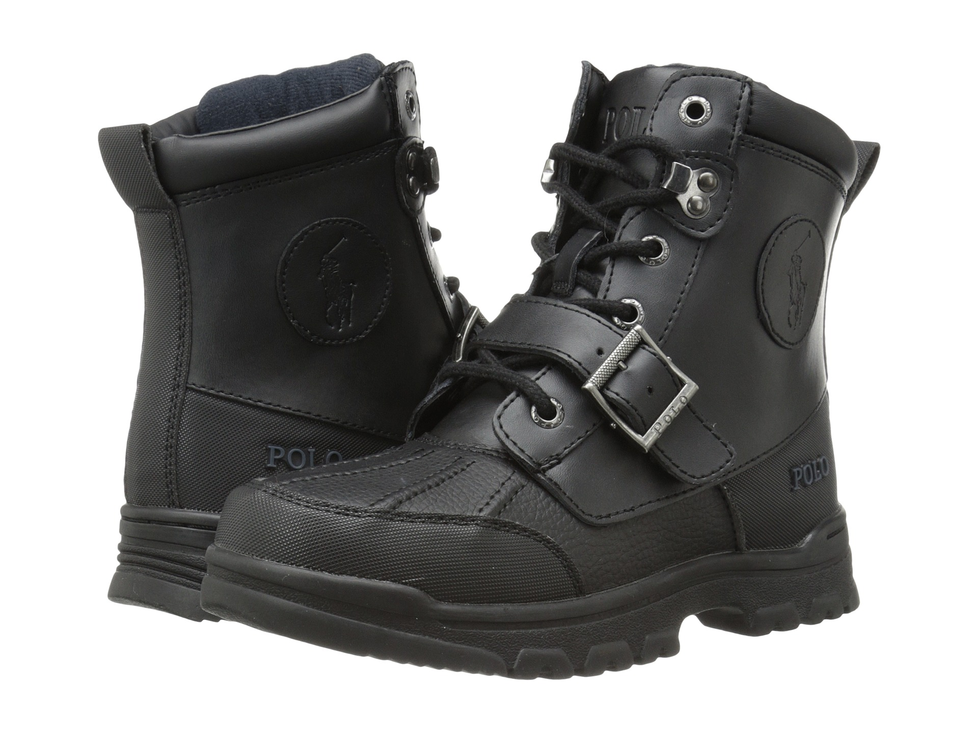 Polo Ralph Lauren Kids Colbey Boot FT14 (Big Kid) Black Tumbled/Burnished Leather - Zappos.com Free Shipping BOTH Ways