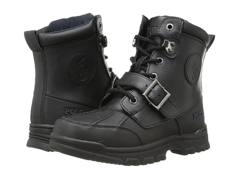 Polo Ralph Lauren Kids Colbey Boot FT14 (Big Kid) - Black Tumbled/Burnished Leather