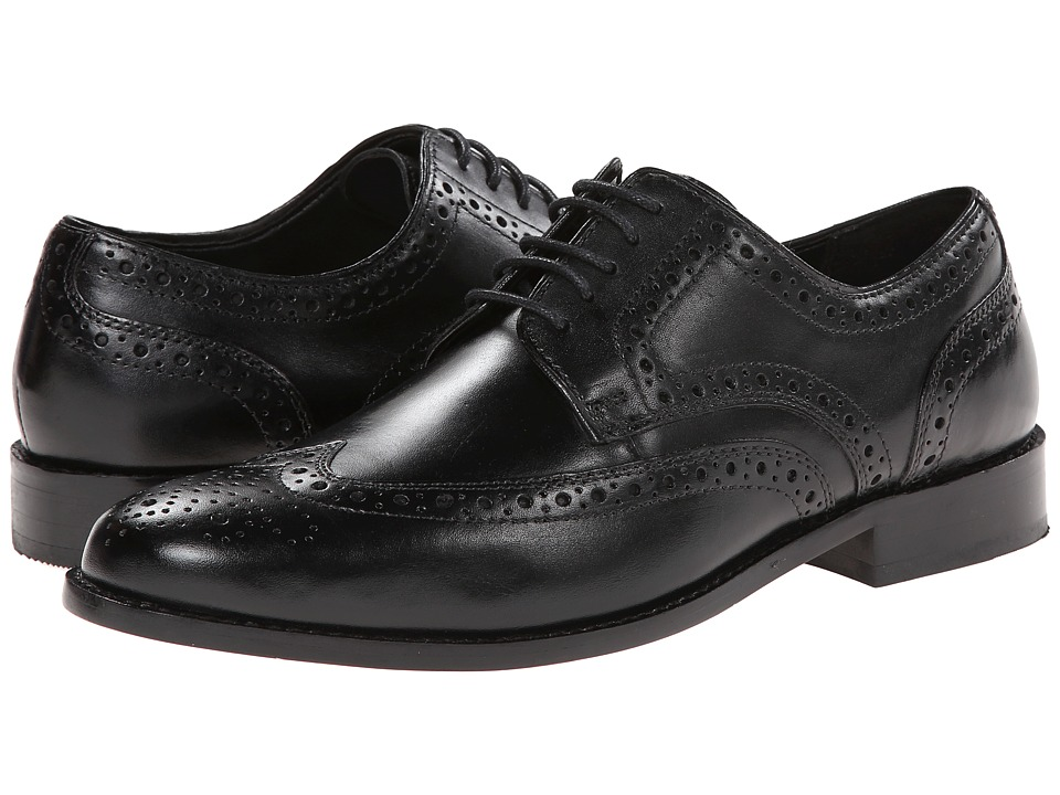 1960s Mens Shoes- Retro, Mod, Vintage Inspired Nunn Bush - Nelson Wingtip Oxford Black Mens Dress Flat Shoes $68.00 AT vintagedancer.com