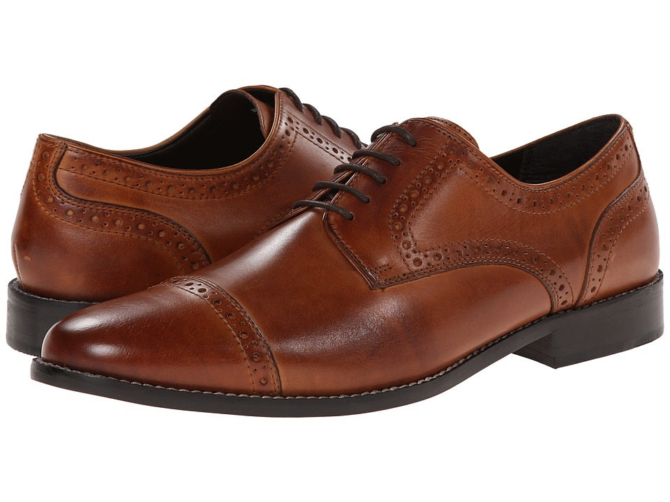 1940s Style Mens Shoes Nunn Bush - Norcross Cap Toe Oxford Cognac Mens Lace Up Cap Toe Shoes $68.00 AT vintagedancer.com