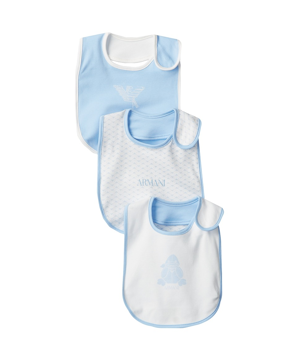 Armani Junior Bib Set Baby Blue/White Accessories Travel