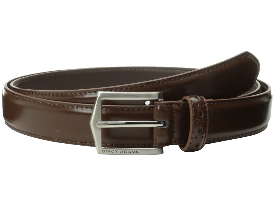 Stacy Adams 30mm Pinseal Leather Belt X (Chocolate) Men