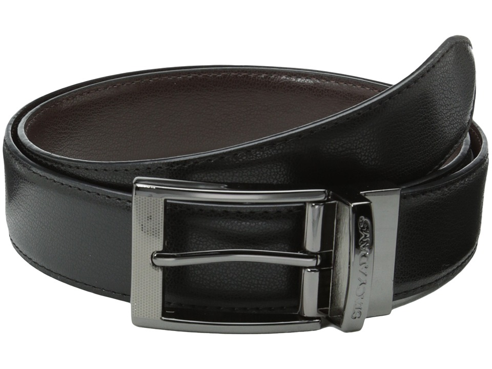 Stacy Adams 35mm Reversible Leather Belt (Black/Brown) Men