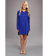 Vix - Solid Blue Chemise w/ Pleats Cover-Up