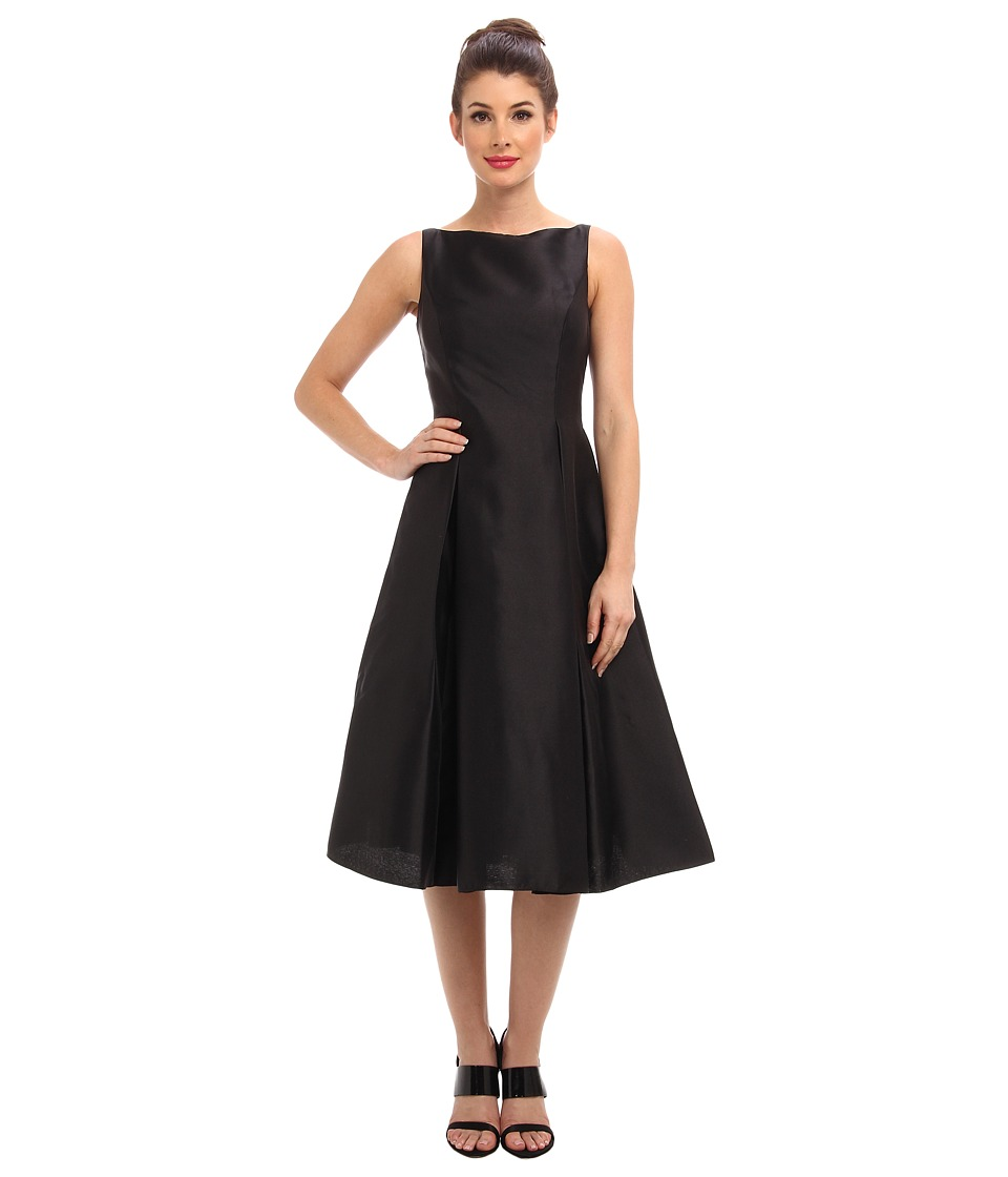 Adrianna Papell Sleeveless Tea Length Dress Black Womens Dress