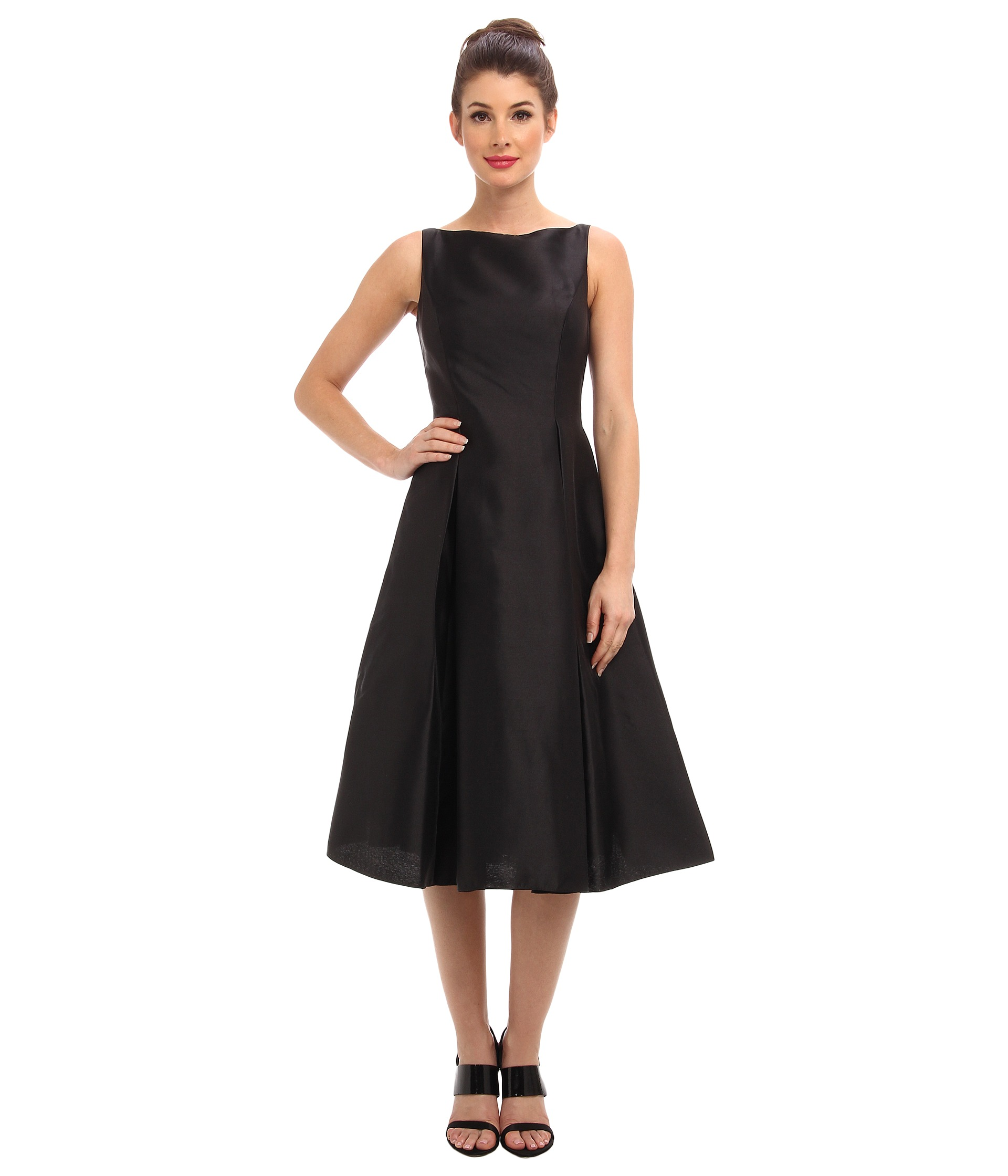 Adrianna Papell Sleeveless Tea Length Dress Black- Black - Shipped ...
