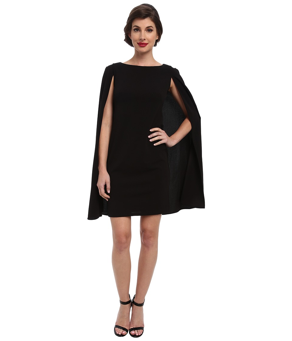 Adrianna Papell Structured Cape Sheath Dress Black Womens Dress