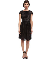 Adrianna Papell - Pleat Striped Filigree Lace