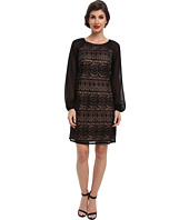 Adrianna Papell - Chiffon Sleeve Lace Shift