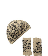 BCBGMAXAZRIA - Leopard Beret And Fingerless Glove Gift Set