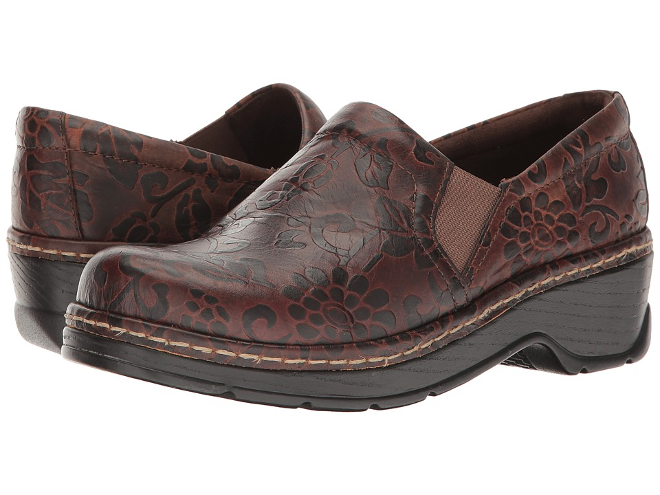 Klogs Footwear Naples (Brown Flower Tooled) Women's Clogs