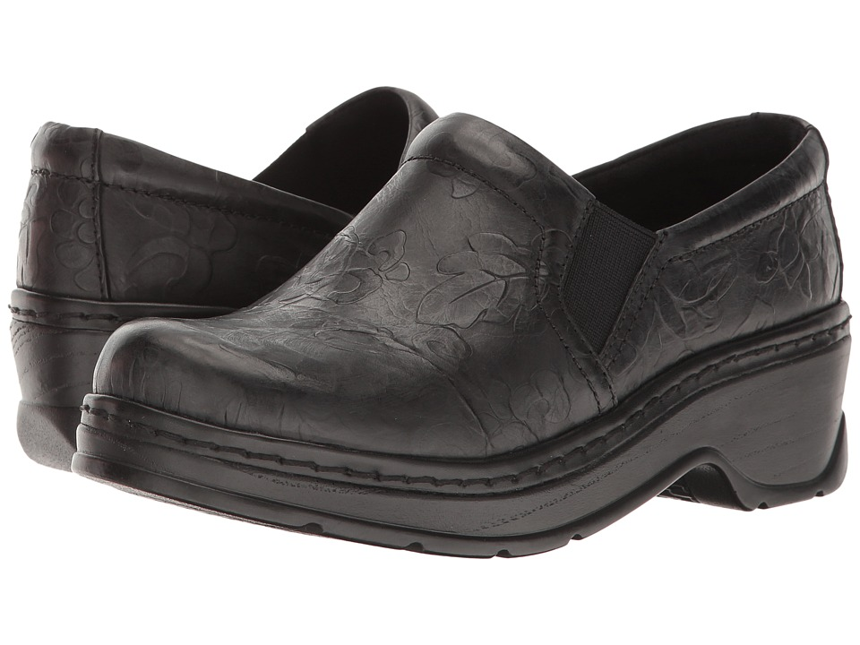 Klogs Footwear Naples Black Flower Tooled Womens Clog Shoes