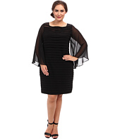 Adrianna Papell - Plus Size Sheer Flared Sleeve Tuck Dress