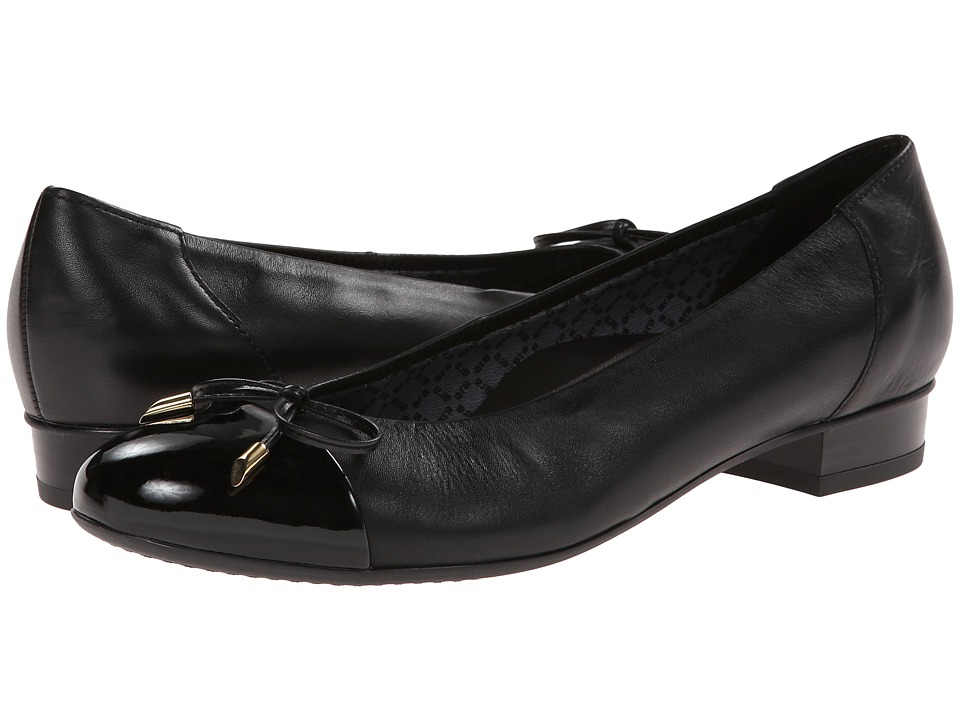 ara Bria Black Nappa/Patent Toe Womens Flat Shoes