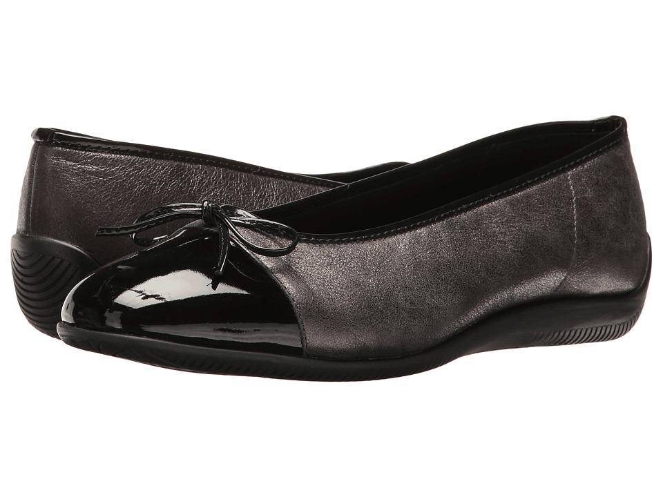 Ara Bella (Black Metallic/Patent Toe) Women's Dress Flat ...