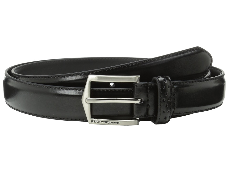 Stacy Adams - 30mm Pinseal Leather Belt X (Black) Mens Belts