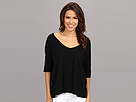 Michael Stars Slub Elbow Roll Sleeve Vee Neck